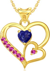 VK Jewels Decent Double Heart Valentine 18K Yellow Gold Cubic Zirconia  Alloy Pendant