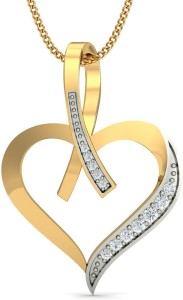 KuberBox Love Bouquet Diamond Yellow Gold Pendant