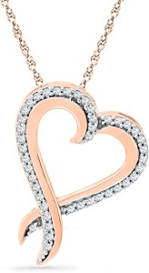 JPearls Love Heart Diamond Rose Gold Pendant