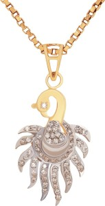 Aiza Majestic Peacock Diamond Yellow Gold Pendant