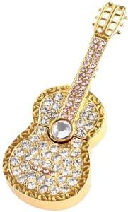 Microware Guitar Shape Golden Jewellery Designer Pen Drive 4 GB