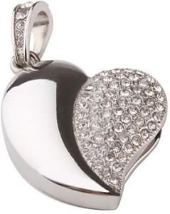 Quace Silver Heart 8 GB Pen Drive