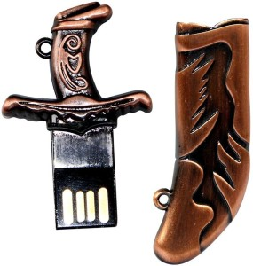 Zeztee Pen Drive Kirpan Shape Copper Color USB 2.0 16 GB Pen Drive