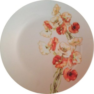 fabulloso Leaf Designs Shaded Taupe Floral Quarter Plate