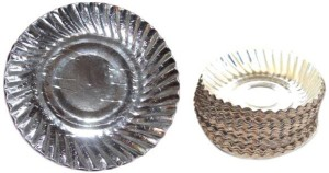 Paper Plates Silver Plate Set