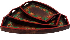 Indikala Indikala Set of Three Multicoloured Ethnic Wooden Trays Tray Set