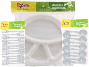 Ezee Thermocol Plate + Crystal Spoon + Crystal Fork Plate Set