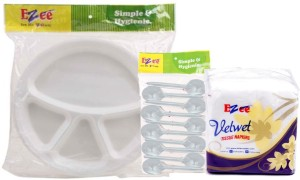 Ezee Thermocol Plate + Crystal Plastic Spoon + Tissue Paper Plate Set
