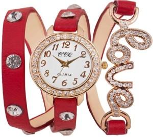 Rokcy Analog Red Analog Diamond Fancy Love Round Watch Girl,s