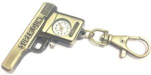 Kairos Designer Gun Pistol Keychain Analog Pocket Watch