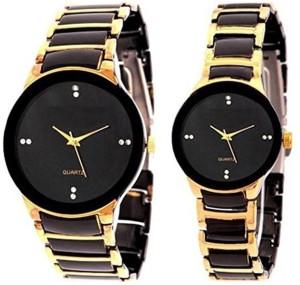 Rokcy Analog Pair Analog R Shape Black-Golden Watch