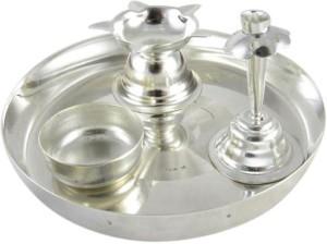 GoldGiftIdeas 5PS Silver Plated Pooja u0026 Thali Set  sc 1 st  Buyhatke & GoldGiftIdeas 5PS Silver Plated Pooja Thali Set 4 Pieces Silver Best ...
