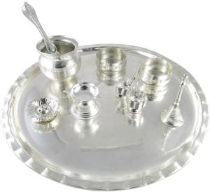GoldGiftIdeas Shubh Labh Silver Plated Pooja u0026 Thali Set  sc 1 st  Buyhatke & GoldGiftIdeas Shubh Labh Silver Plated Pooja Thali Set 9 Pieces ...