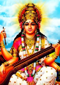 Saraswati Maa - Hindu Goddess A4 NON TEARABLE High Quality Printed Poster - Wall Art Print (Size : 8.2 x 11.6) , For Bedroom , Living Room, Kitchen, Office, Room Paper Print