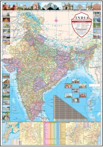 India Political Map Paper Print 40 inch X 28 inch Rolled Best Price