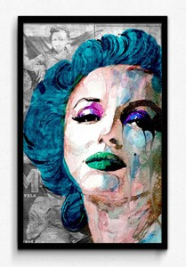 Seven Rays Marilyn Monroe Pop Art Blue Framed Small 18 5 Inch X 12 Inch