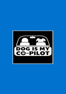 Dog Is My Co-Pilot - Blue A3 Cotton Canvas High Quality Printed Poster - Wall Art Print (Size : 11.7 X 16.5) , For Bedroom , Living Room, Kitchen, Office, Room Canvas Art