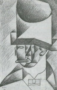 The Museum Outlet Head of a man with cigar by Juan Gris - Print (24 x 18 Inch) Canvas Painting