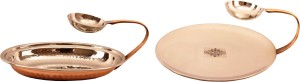 IndianArtVilla Steel Copper Set of 1 Platter with attached bowl & 1 tawa with attached bowl Tawa 22.86 cm diameter