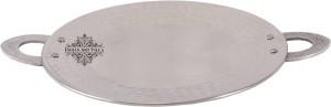 IndianArtVilla Stainless Steel Serving Hammered Tawa Platter Tray Tawa 21.082 cm diameter