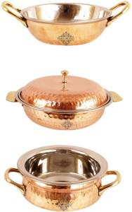 IndianArtVilla Set of 3 Steel Copper Serving Set Handi, Kadhai Set