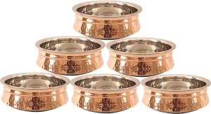 IndianArtVilla Set of 6 Steel Copper Induction Handi Handi 5.4 L