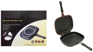 Wonder World ® Dessini Double Grill Frying Pan Cut down on extra cooking time & effort by frying on both sides of a non-stick pan with Double Grill Frying Pan Pan 32 cm diameter