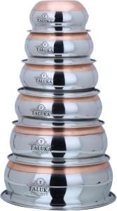 Taluka Stainless Steel Copper Bottom Handi Pot 6 Piece Set Combo Serving Handi Cookware Multi Purpose Capacity :- 500 ML , 800 ML , Handi 1 L, 1.3 L, 2 L, 3 L