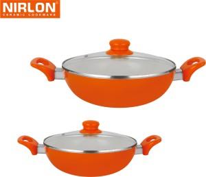 NIRLON Cooking Ceramic Non Stick Induction Kadhai 1.5 L, 2.25 L