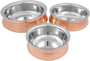Prisha India Craft Copper Hyderabadi Bowl Handi 0.75 L