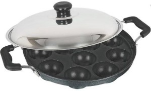 TRIKON Pan 22 cm 12 Cavities Appam Patra With 3 non stick coatings SS Lid And Side Handles cm diameter