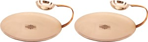 IndianArtVilla Set of 2 Steel Copper Tawa with Attached Bowl Tawa 22.86 cm diameter