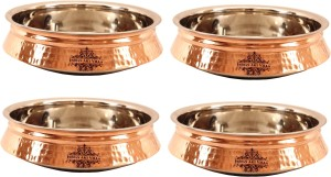 IndianArtVilla Set of 4 Steel Copper Induction Handi Handi 8 L