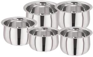Pristine Stainless Steel Induction Tri Ply Bottom Belly Shape Tope Set / 5PCS Pot 1.10Ltr, 1.55Ltr, 1.95Ltr, 2.58Ltr, 3.20Ltr L