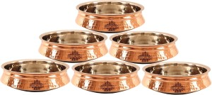 IndianArtVilla Set of 6 Steel Copper Induction Handi Handi 12 L