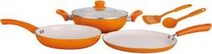 Nirlon reinforsed 4 layer ceramic nonstick cookware set pans & pot Kadhai, Tawa, Pot Set