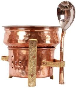 Indian art villa Copper Kitchen Set of 1 Spoon 1 Handi 1 Sigri for use serving Food Handi 0.3 L