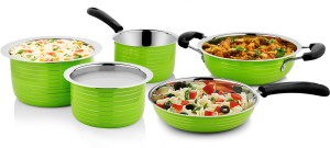 Cookaid Elite Heavy Green Cookware Set 5 Pcs Pot, Pan, Kadhai Set