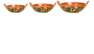 Caffeine Serving Ceramic in Orange Flower (Set of 3) Kadhai 3 L, 2 L, 1.5 L