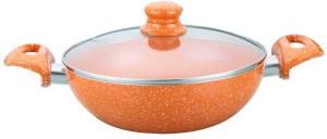 Wonderchef Tangerine 20cm Wok with Lid Kadhai 1.6 L