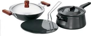 Hawkins Hard Anodised Cookware Set Pan, Tawa Set