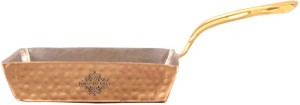 IndianArtVilla Steel Copper Square Serving Pan with Brass Handle Pan 14.22 cm diameter