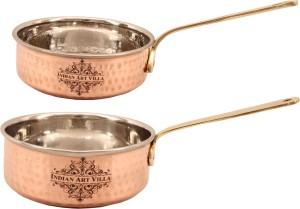 IndianArtVilla Set of 2 Steel Copper Fry Pan Pan 13.462 cm diameter