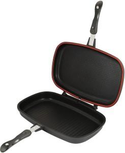 Wonder World ® Dessini Aluminum Two-Sided Double Grill Non-stick Pressure Pan, Black Pan 32 cm diameter