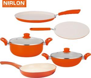 NIRLON Cooking Ceramic Non Stick Induction Tawa, Pan, Kadhai, Pot Set