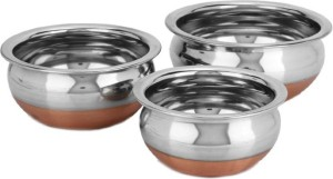 Lavi Classic Cooking Set Of 3 Copper Base Cookware Handi .5 L, .75 L, 1 L