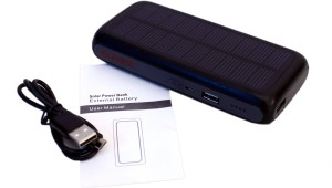 Exilient 10000 mAh Solar Power Bank, Dual USB Port for smart phone, iPhone, iPad, PSP, Ebook, Digital Camera Battery Pack 10000 mAh Power Bank