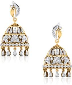 IskiUski Achla Yellow Gold 14kt Swarovski Crystal Jhumki Earring