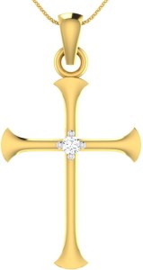 Diamonddad Holy Cross 18kt Diamond Yellow Gold Pendant