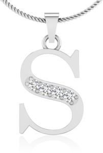 IskiUski Alphabetical S 14kt Swarovski Crystal White Gold Pendant